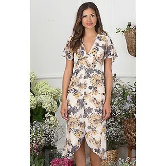 Hope and Ivy Button Front Midi Dress