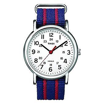 Timex T2N747 Orologio da Polso al Quarzo, Analogico, Unisex, Tessuto, Bianco/Blu
