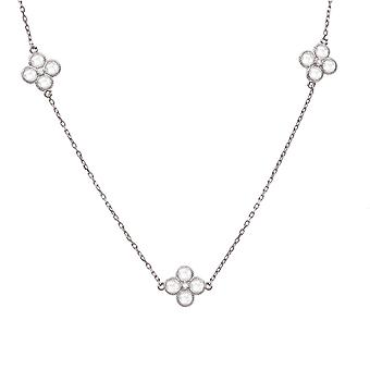 Long CZ Flower Quartz Necklace 925 Sterling Silver Chain Boxed Gift Strand Gems
