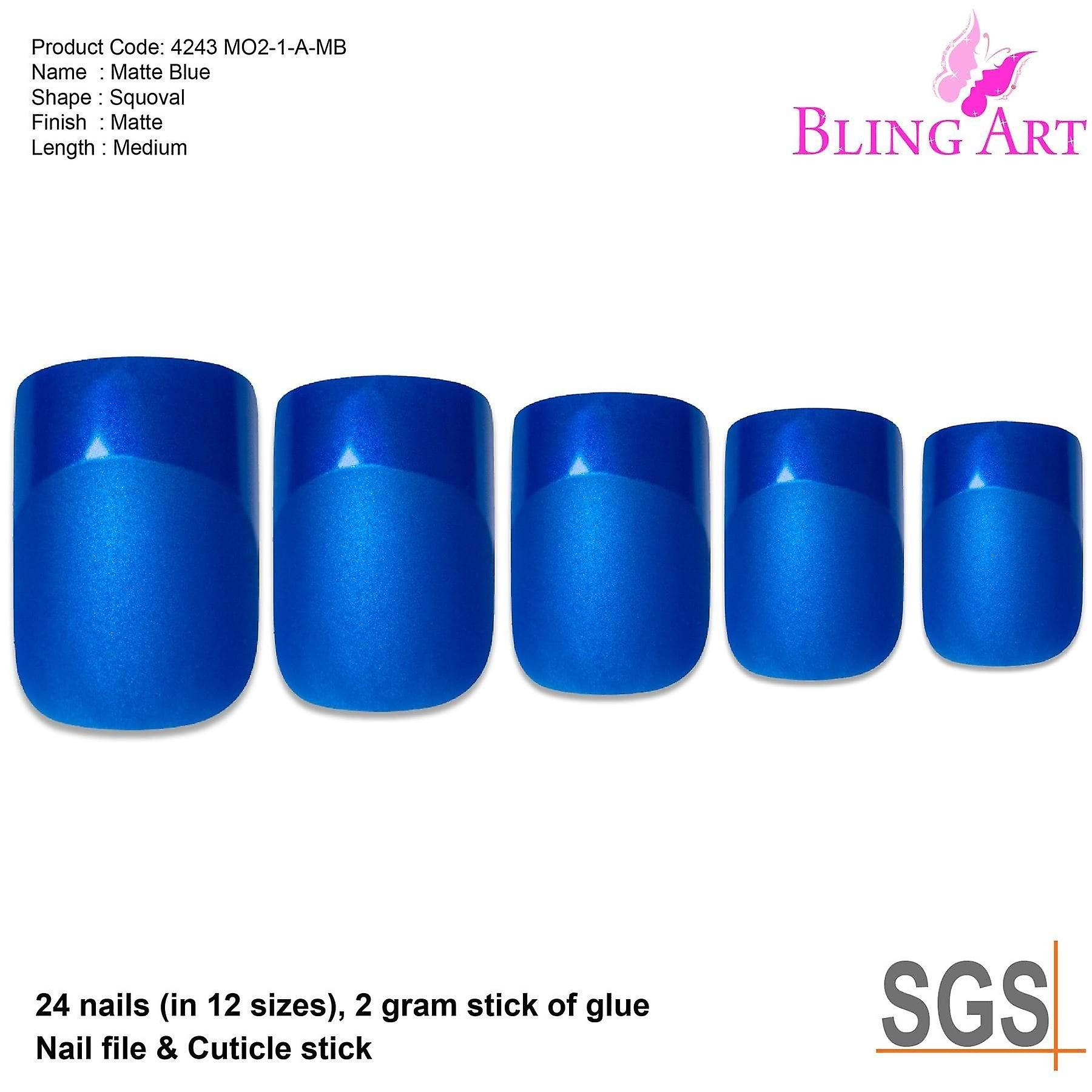 new products 746c0 972e0 False nails by bling art blue matte french manicure fake medium tips with  glue