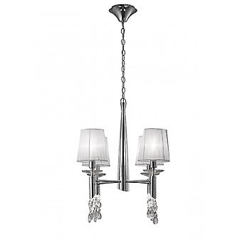 Mantra Tiffany Pendant 4+4 Light E14+G9, Polished Chrome With White Shades & Clear Crystal