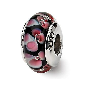 925 Sterling Silber poliert Antike Finish Reflexionen rot schwarz Murano Glas Perle Charme