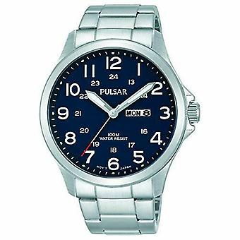 Pulsar Silver Stainless Steel Blue Dial Mens Watch PJ6095X1 42mm