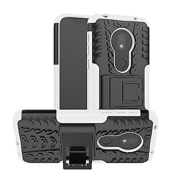 Für Motorola Moto G7 Play Hybrid Case 2teilig Outdoor Weiß Tasche Hülle Cover Schutz