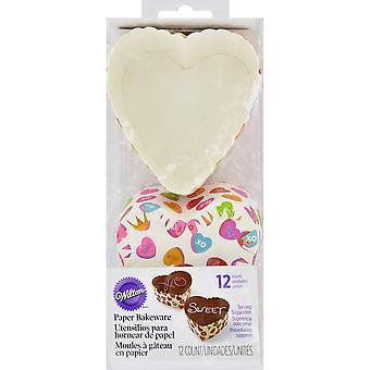 Disposable Standard Baking Cups-Scalloped Heart Words Can Express 12/Pkg W9906