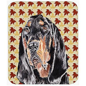 Coonhound Fall Leaves Mouse Pad, Hot Pad or Trivet
