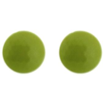 Neon Yellow Round Facet Button Stud Earring