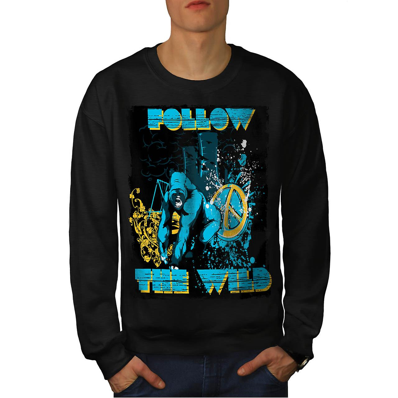 Follow the Wild Chimp Wilderness Men Black Sweatshirt | Wellcoda