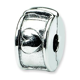 Sterling Silver Antique finish Reflections Hinged Heart Clip Bead Charm