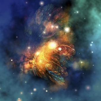 Cosmic image of a colorful nebula out in space Poster Print