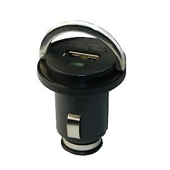 PCs mini car charger with USB port (1A) in black