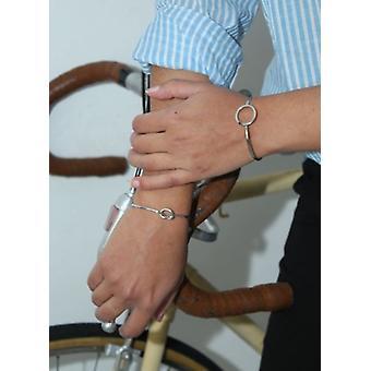 Silver-färgad minimalistisk chic uttalande manschetten armband med knappen