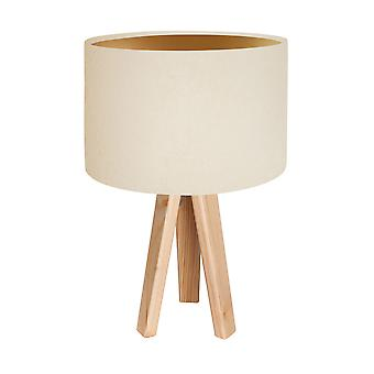 Table lamp table lamp Jalua T suede cream & gold with tripod wooden H: 47 cm 10754