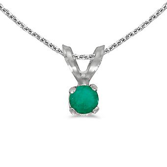 14k White Gold Round Emerald Pendant with 18