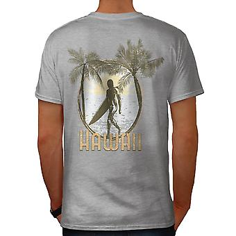 Hawaii Verenigde Staten Surfer Palm Beach mannen grijs T-shirt terug | Wellcoda
