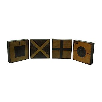 4 Pc. Nautical Flag Markers Decorative Wood Wall Plaque Set