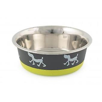Fusion Stainless Steel Dog Dish Dog Lime/grey 17cm (Pack of 3)