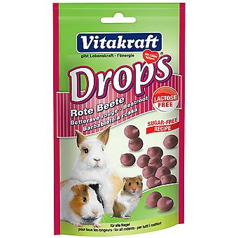 Vitakraft Small Animal Sugar & Lactose Free Beetroot Drops 75g (Pack of 9)
