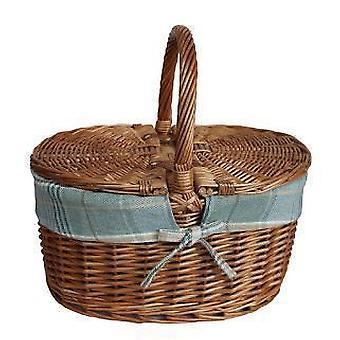 Light Steamed Oval Lidded Cream Tartan Lining Picnic Basket