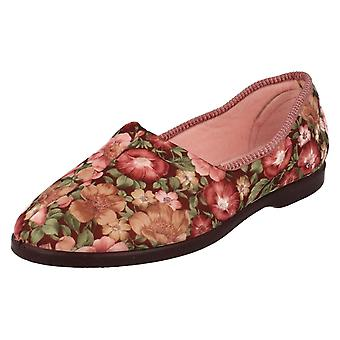 Ladies Lady Love Slip On Slippers Garden Print