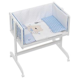 Interbaby Cradle co-sleeping with textile Teddy Love Blue
