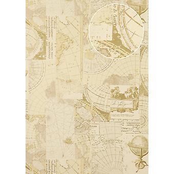 Graphic wallpaper Atlas SIG-586-3 non-woven wallpaper smooth maritime design shimmering ivory perl white gold grey beige 5.33 m2