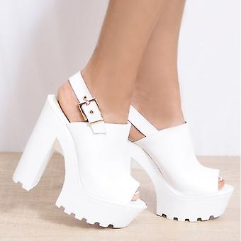 Koi Couture Platform Sandals - Ladies Bf30 White Pu Cleated Platforms Slingbacks Strappy Sandals