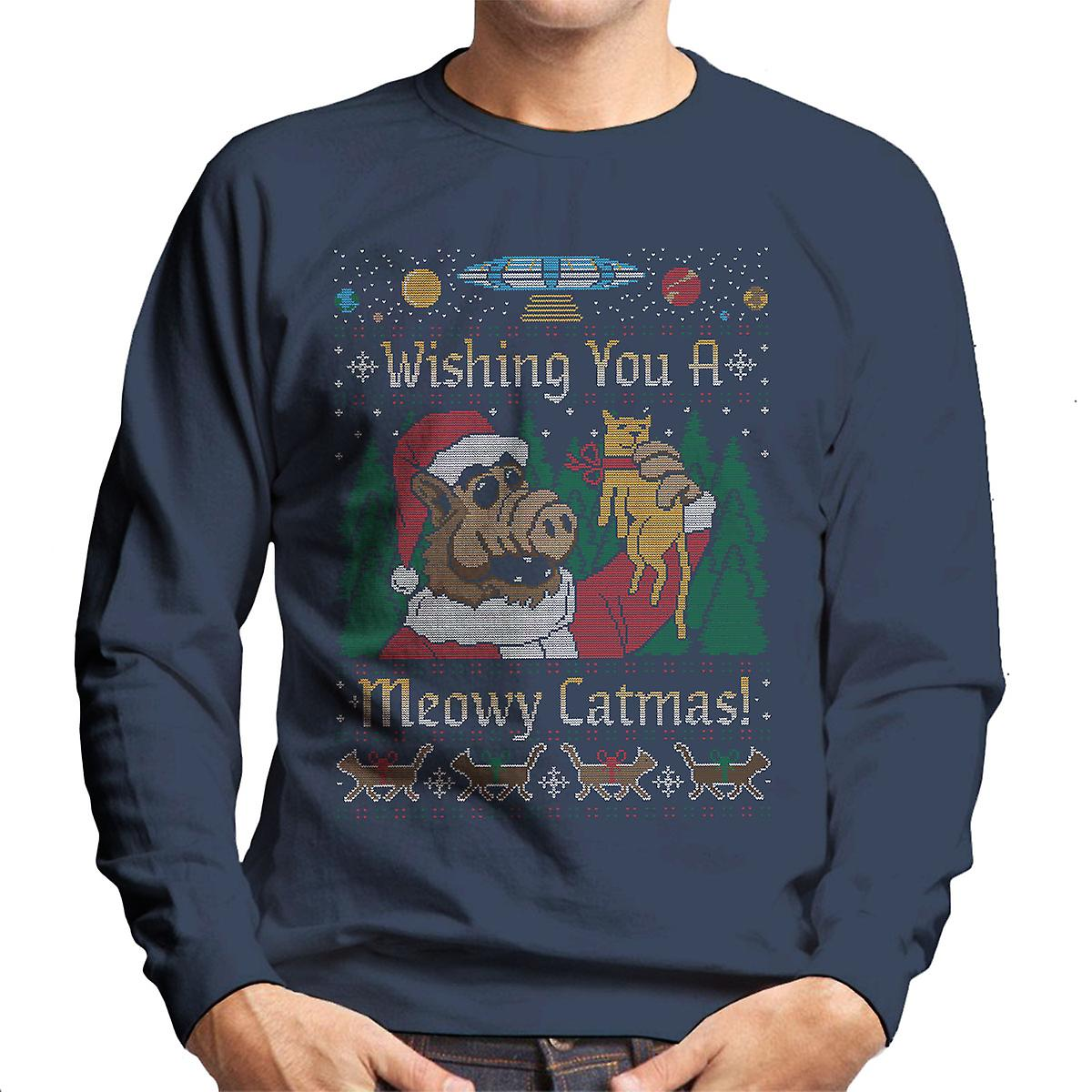 meowy catmas alf weihnachten stricken herren sweatshirt. Black Bedroom Furniture Sets. Home Design Ideas