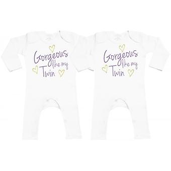 Spoilt Rotten Gorgeous Like My Twin Baby Footless Romper Twins Set
