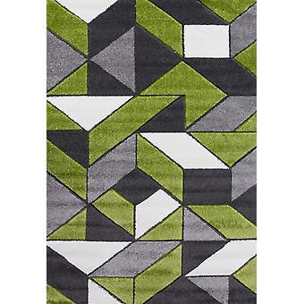 Modern Green & Grey Geometric Rugs - Rio