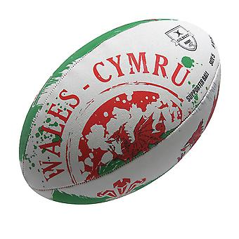 GILBERT wales flag rugby ball [white/green]