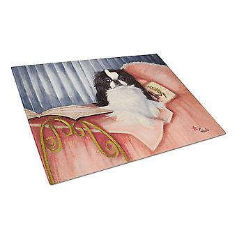 Japanese Chin Reading in Bed Glass Cutting Board Large