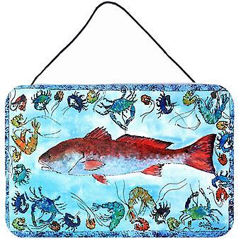鱼红色的鱼室内或铝金属墙或门挂版画