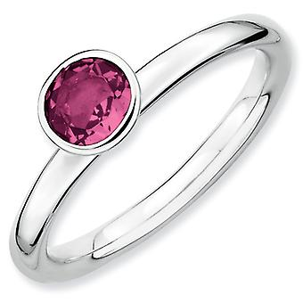 Sterling Silver Bezel Polished Rhodium-plated Stackable Expressions High 5mm Round Pink Tourm. Ring - Ring Size: 5 to 10