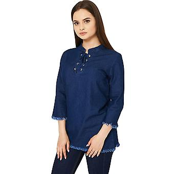 Lace Up Front Denim Top In Navy Navy, S