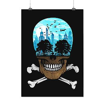 Matte or Glossy Poster with Head City Face Art Skull | Wellcoda | *d2361