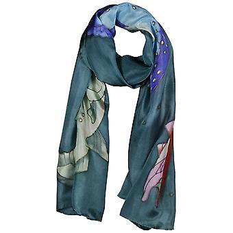 Invisible World Women's Hand-Painted 100% Silk Salmon Scarf