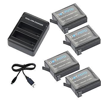 Dot.Foto batteria (4-Pack) e doppio caricatore per GoPro HERO4 Black Edition, HERO4 argento edizione & GoPro AHDBT-401