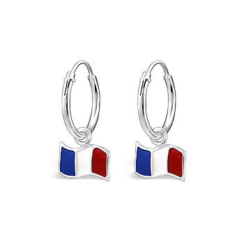 France Flag - 925 Sterling Silver + Epoxy Colour Earrings