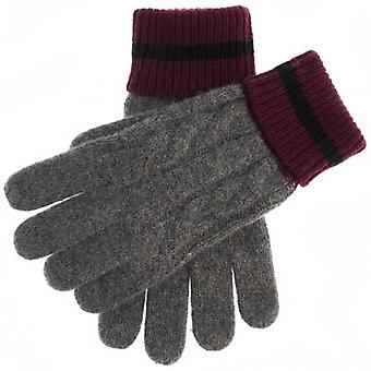 Dents Holwick Cable Knit Gloves - Grey/Burgundy