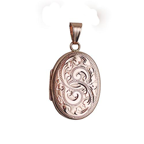 9ct Rose Gold 26x19mm hand engraved flat oval Locket
