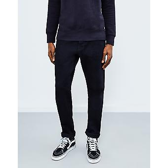 Edwin ED-55  Regular Tapered  White Listed Selvedge Stretch Jeans  Black Rinsed