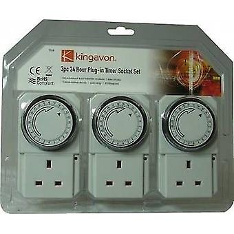 3Delig 24-uurs Plug in Timer Socket Set