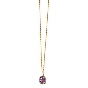 Elements Gold Amethyst Cushion Pendant - Purple/Gold