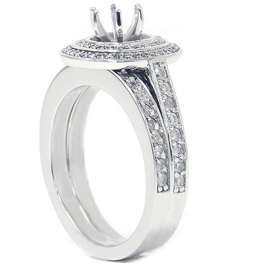 1ct Double Halo Engagement Ring Set 14K White Gold