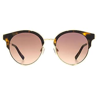 French Connection Fashion Peaked Round Sunglasses In Gold Tortoiseshell