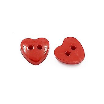 Packet 50+ Red Acrylic 12mm Heart 2-Holed Sew On Buttons HA07205