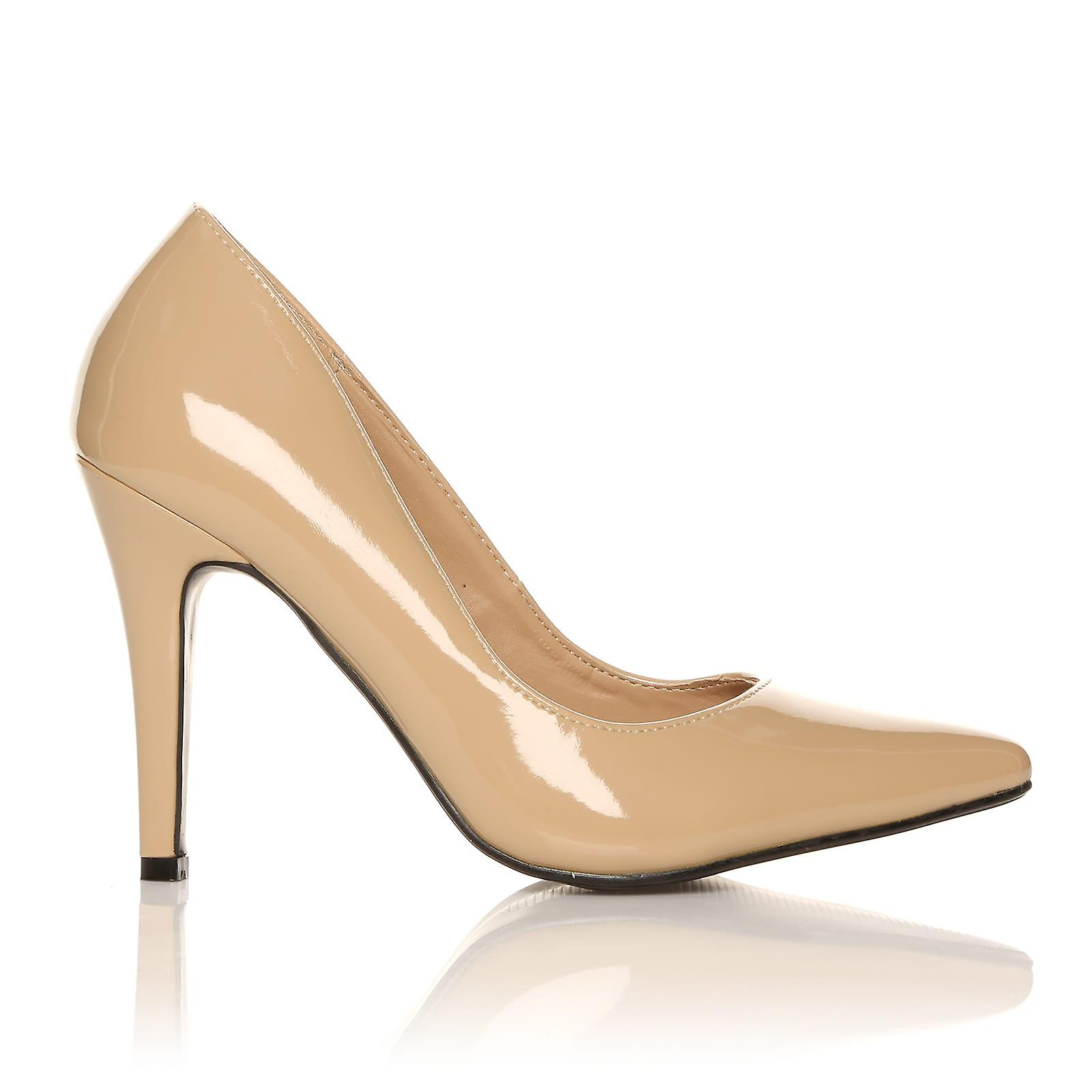 DARCY Nude Patent PU Leather Stilleto Shoes High Heel Pointed Court Shoes Stilleto ce7432