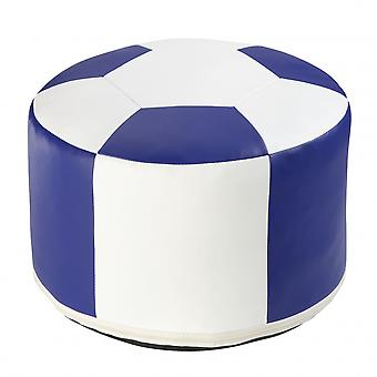 Football cushion synthetic leather white/blue 6300327 Ø 50/34 cm