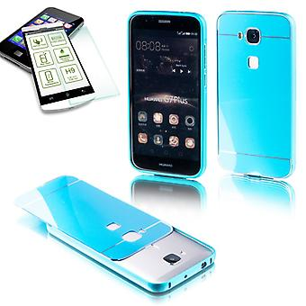 Aluminium bumper 2 piece blue + 0.3 mm H9 tempered glass for Huawei G8 5.5 inch